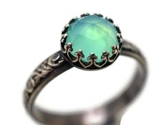 Peruvian Blue Opal Ring Opal Engagement Ring by fifthheaven, $150.00