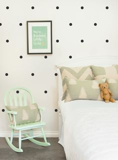 Dots #walldecal in a black.  Simple to install or take down!  Love how the black and white is softened with the mint, grey and pink.  #kidsroomdecor
