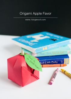 Origami Apple Favor.  Would be great for back-to-school. | www.1dogwoof.com appl favor, craft, origami appl