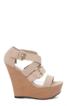Deb Shops Open Toe Platform #Wedge with Wood Heel and Buckled Straps $27.67
