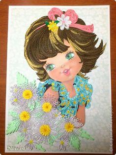 Картина панно рисунок Квиллинг Милая девочка  Бумажные полосы фото 1