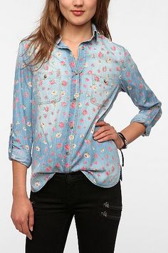 UrbanOutfitters.com > BDG Floral Printed Chambray Button-Down Shirt