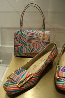 mid 1965 psychedelic print Pilgrim pumps with matching handbag ~ Roger Vivier Exhibition at the Bata Shoe Museum, Toronto, Ontario