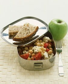 Chickpea, Tomato, and Feta Salad. 1/4 cup canned chickpeas 1/2 cup quartered cherry tomatoes 1/4 cup crumbled feta 1 tbsp. fresh lemon juice 2 tsp. olive oil 1 tsp. dried oregano or basil 1/8 tsp. salt ground pepper  Rinse and drain chickpeas. Combine all ingredients.