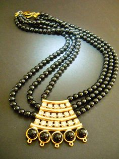 Vintage Black Necklace Rhinestones Lucite Art by RenaissanceFair, $33.00
