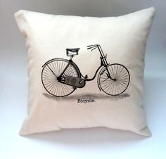 14X14 Hipster Vintage Bicycle Pillow Slip Cover, Shabby Chic Home Decor, Throw Pillow, Pillow Case, Black and Cream, Typography, 70s 80s. $14.00, via Etsy.