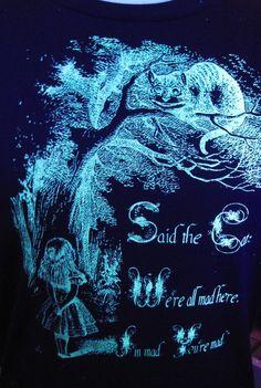 Glow in the Dark Alice in Wonderland Screenprint Tshirt by Glowees, $21.00