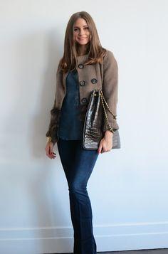jacket by Agnona over a Bella Dahl top.  jeans  by Paige Denim,  bag Devi Kroell.