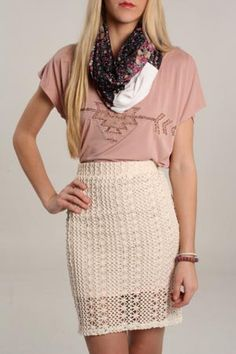 Free People Crocheted Pencil Skirt