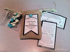 #Turquoise and #Burlap #wedding #invitations