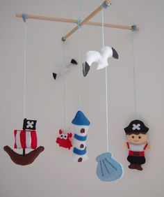 Handmade Pirate Mobile  Boys Mobile  PIrate by GigglesProject