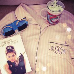 Such a cute present idea. Girl's Night In- monogrammed pajamas, Audrey Hepburn eye mask, and breakfast at tiffany's.