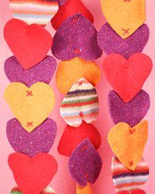 felted heart garland