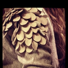 My latest finding: Beige Vest with leather scales on shoulders from Olivia.