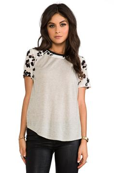 Rebecca Taylor Short Sleeve Cool Cat Print Tee in Cream from REVOLVEclothing