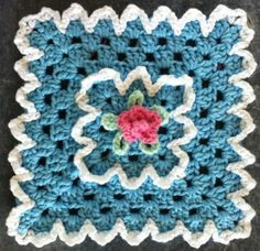 Rose Granny Crochet Dishcloth--free pattern