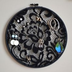 Make an earring holder from black lace and an embroidery hoop!