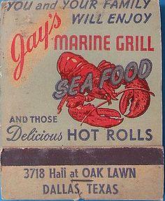 Vintage matchbook: Jay's Marine Grill, 3718 Hall at Oak Lawn, Dallas, Texas by coltera, via Flickr
