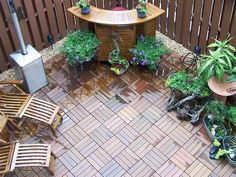 Patio Flooring Option. Covering the concrete with a cozier wood floor.