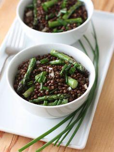 black lentil, roast asparagus, food free, recip, fake food, asparagus salad, salads, lentils, lentil salad