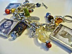 Custom photo bracelet with 6 black and white photos and earth tone beads. MimiandMoi on Etsy, $110.00