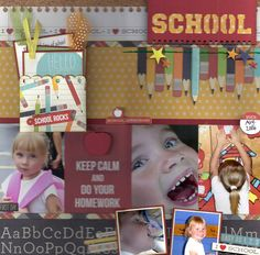 School - Scrapbook.com - Made with Simple Stories Smarty Pants collection.