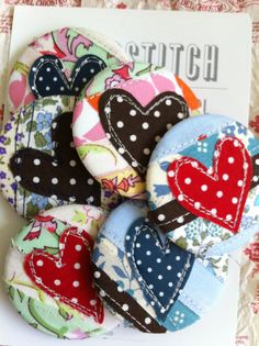 Heart applique button badges  polkadots hotchpotch by indigostitch, £15.00