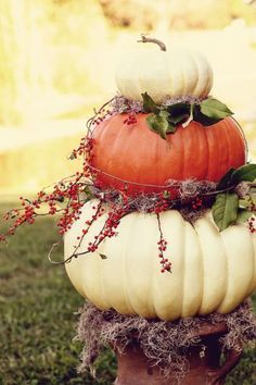 PlaceOfMyTaste: 15 FALL DECOR IDEAS - nice ideas and I love the pumpkins stacked and styled in the urn! decorating ideas, front doors, flower pots, fall decorating, fall pumpkins, fall decorations, fall weddings, decor idea, front porches