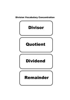 DIVISION VOCABULARY Memory Game / Activity - FREE