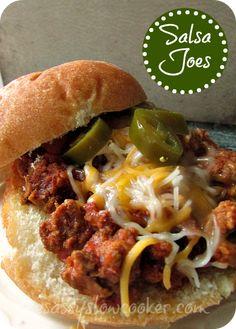 Salsa Crock Pot Sloppy Joes #slowcookerrecipes #recipes