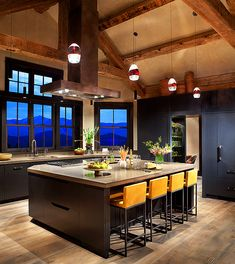 cabinets, window, ranch homes, montana, mountain living, rustic contemporary, kitchen, colorado mountains, vacation houses