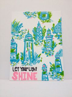 """Lilly Pulitzer """"High Beams"""" Hand-Painted Canvas with Quote, 9X12 on Etsy, $15.00"""