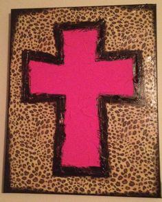 Leopard Print Pink Cross Textured Canvas by ClassyCanvas on Etsy, $38.00