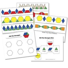 Great free printable for pattern blocks.  Not just for little kids.  My kids love the Fill the Hexagon Game. By Confessions of a Homeschooler