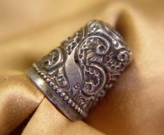 Vintage Sterling Silver Scottish Thimble w/Peacock Bird Design
