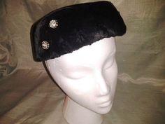 silver rhineston, vintag hat, vintage hats, rhineston black