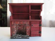 "Dollhouse Miniatures Half Scale/Inch 1/2"" Rustic/Colonial Fireplace Hearth/Shelf"