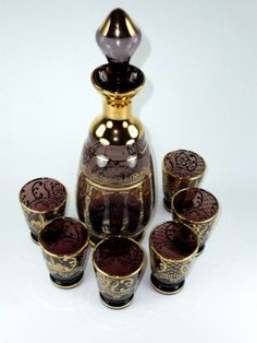 Vintage Decanter Cordial Set with 6 Shot Glasses by ChromaticWit, $69.99