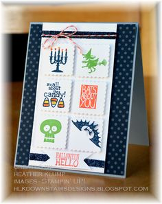 handmade Halloween card from Downstairs Designs ... Halloween images cut with inchie postage stamp punch ... black polka dot panel ... fund card! ...Stampin'Up!