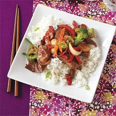 Quick and easy dinner ideas: Asian Ginger Beef recipe (to make the beef easier to cut, place it in the freezer for 20 minutes first).