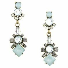 """Add a pop of style to evening ensembles and work outfits alike with these stunning gold-plated earrings, showcasing a vintage-inspired design and rhinestone details.  Product: Pair of earrings Construction Material: Zinc alloy, resin and rhinestonesColor: Blue and goldFeatures:  Hand-set stonesVintage-inspired design  Dimensions: 2.8"""" Drop x 0.9"""" WideCleaning and Care: Avoid all oils and chemicals (such as lotions, hairspray, makeup and perfumes). Put jewelry on last when getting ready. To ..."""