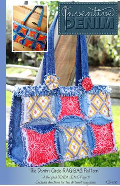 PURSE PATTERN Denim Circle Rag BAG made with Recycled Jeans. Not a free pattern, but pinned for inspiration