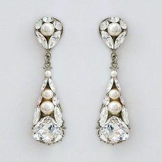Laura Jayne Bridal Jewelry | Crystal & Pearl Drop Earrings