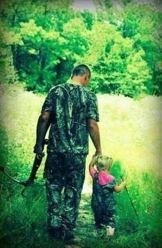 Daddy taking baby girl hunting