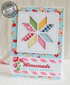 Homemade-Get-Well card ... quilt block star flower ... die cut! ... pretty colors of small print patterned papers back the negative spaces ... great card! ... Paper Trey Ink ...