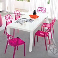 Fun bold pink chairs.