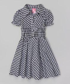 Look at this #zulilyfind! Black Plaid Collar Dress - Toddler & Girls by Maria Elena #zulilyfinds