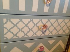 Cute dresser! DIY  Baby Nursery! Would do this in pale yellow and white