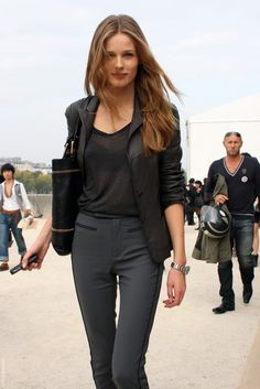 Pair a leather blazer with classic gray pants #Work