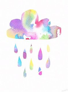 The perfect watercolor tattoo for me. Little Rainbow Rain Cloud Watercolor Painting Tattoo Idea, Watercolor Cloud Tattoo, Watercolor Tattoos, Tattoo Design